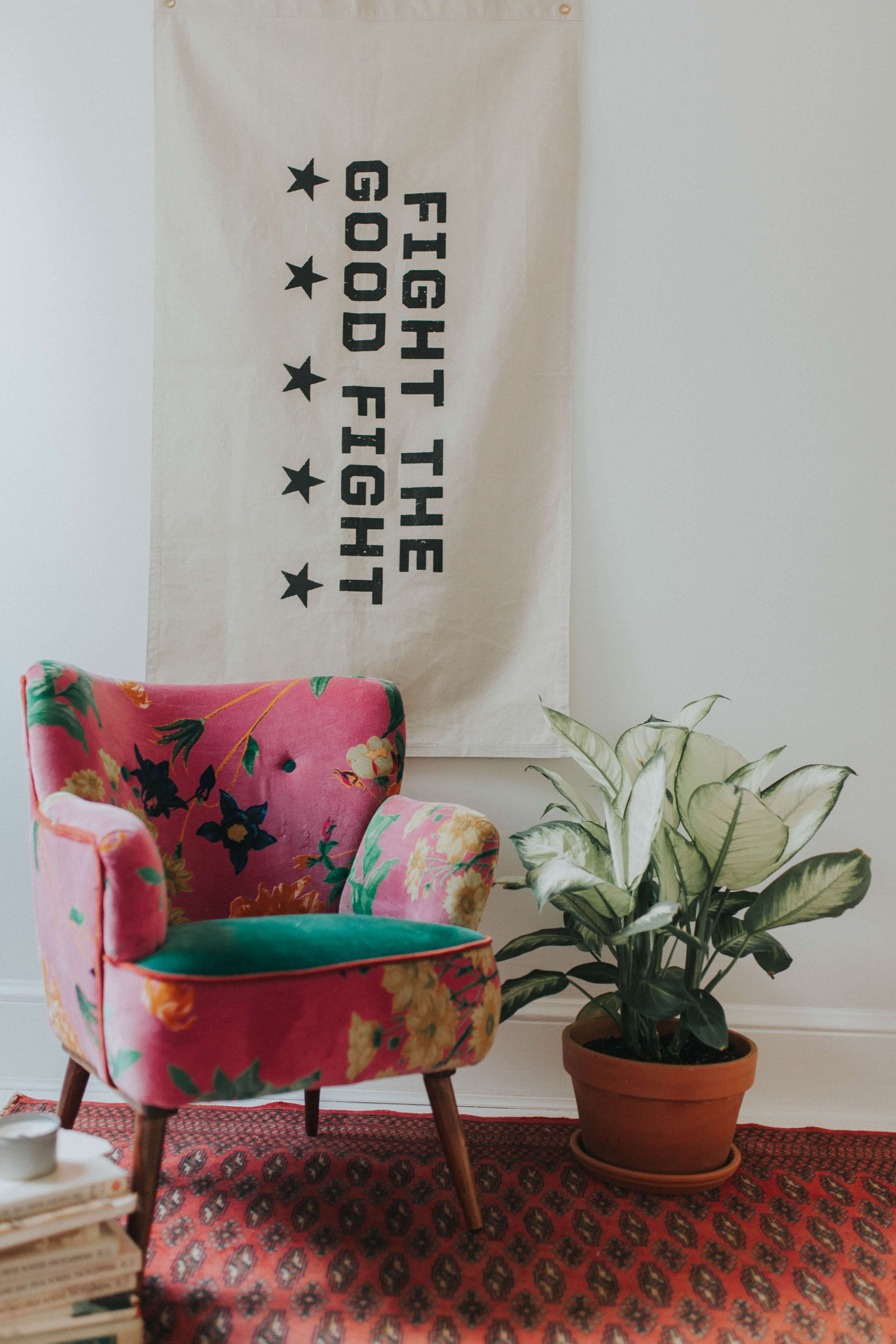Anthropologie chair and Parative flag room