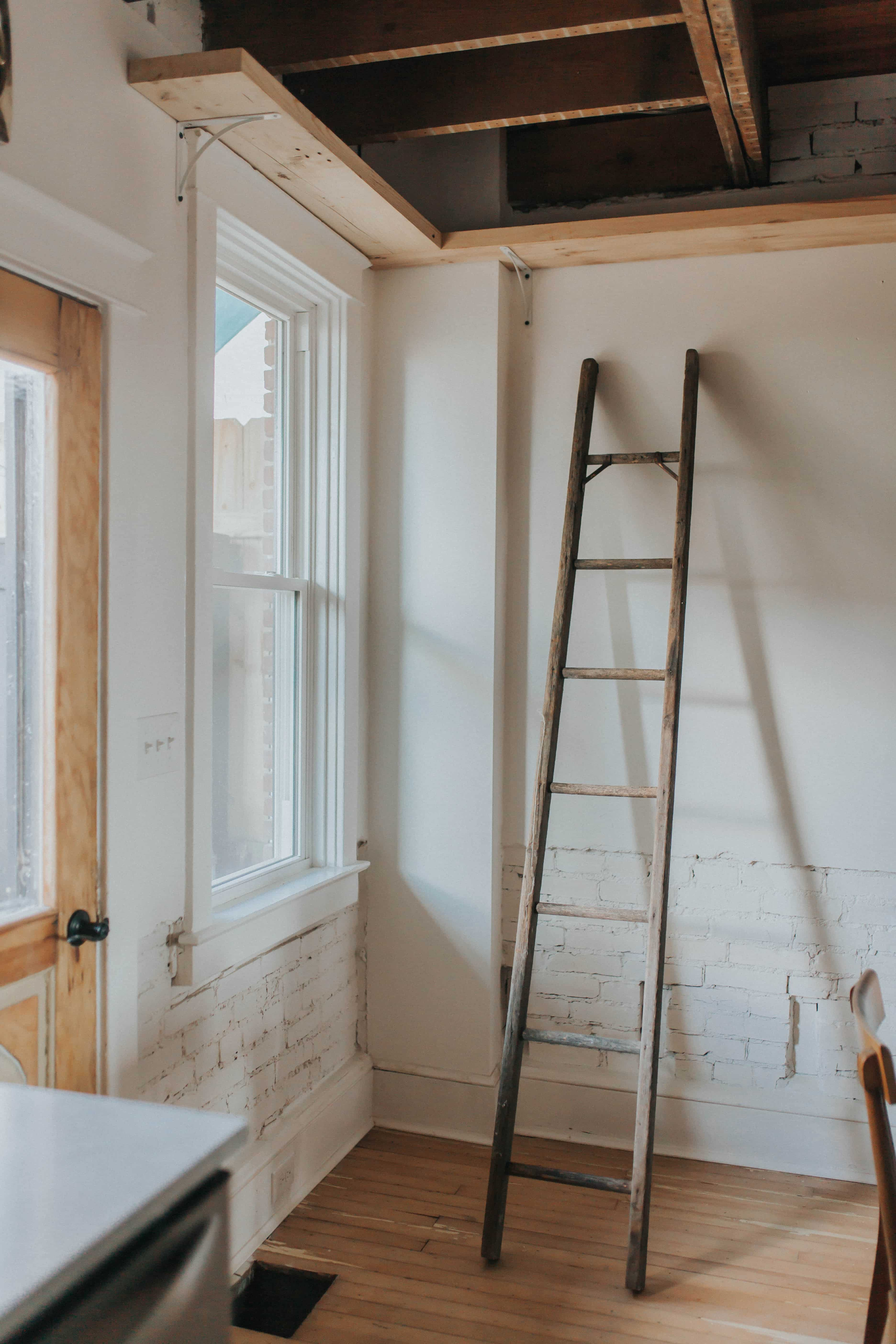 Ladder in renovated dining room