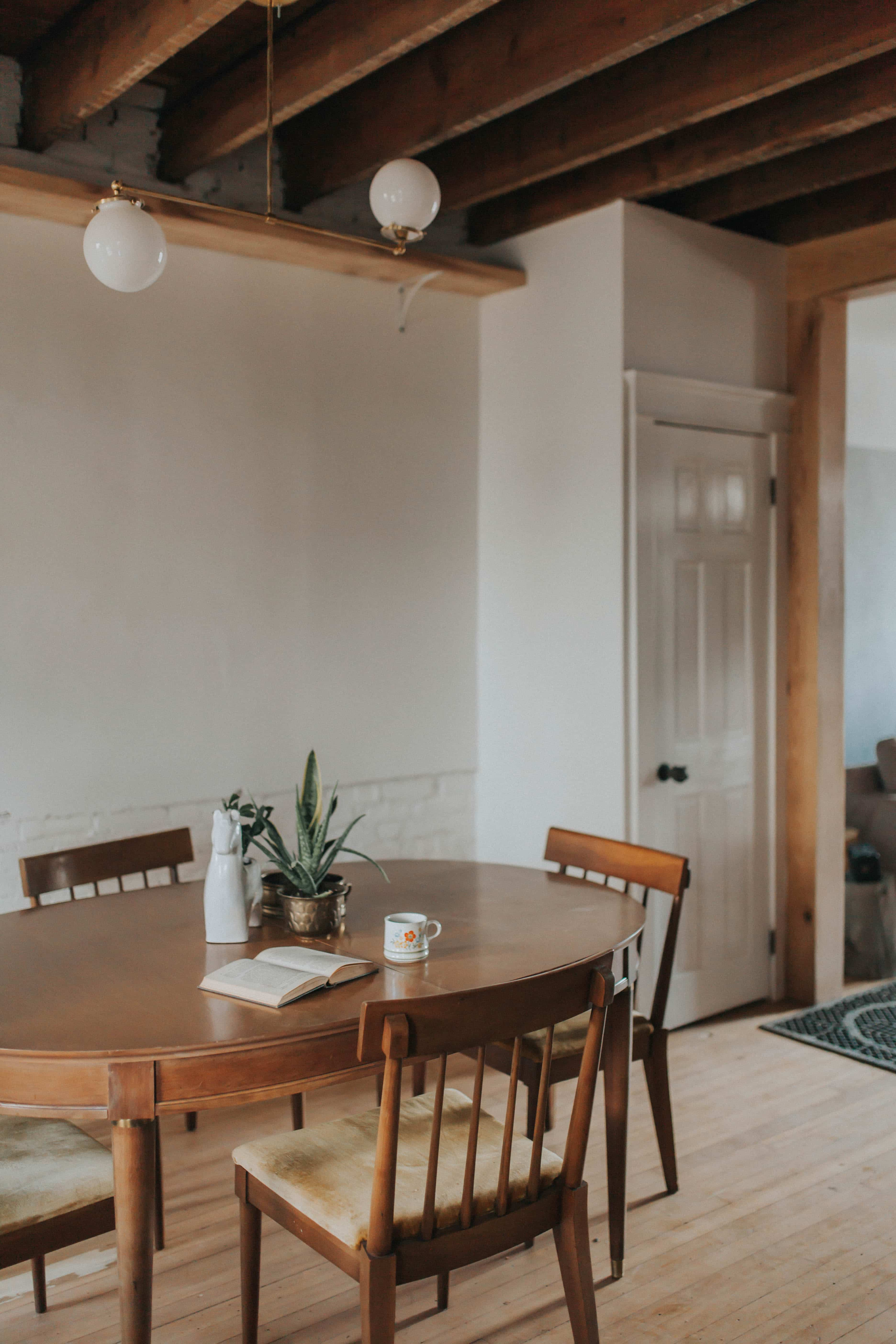 Vintage table and chairs in staged home